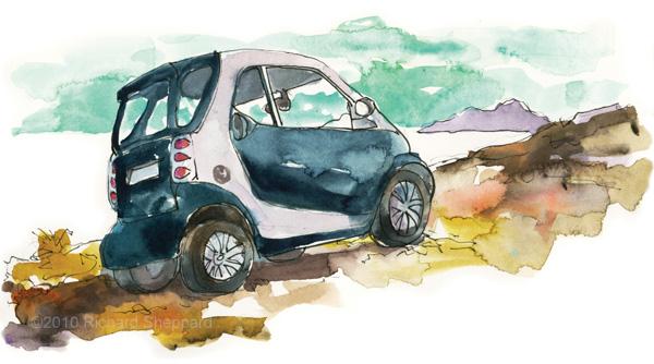 smart car on santorini greece the artist on the road artstudios. Black Bedroom Furniture Sets. Home Design Ideas
